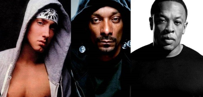 Eminem, Dr. Dre und Snoop Dogg Kollage