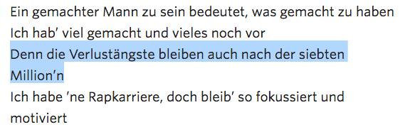 """Kollegahs Rapzeile über sein Vermögen: """"Die Verlustängste bleiben auch nach der siebten Million"""""""