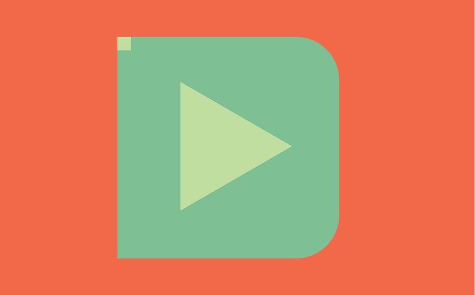Großer Video Button auf lachsfarbenem Hintergrund