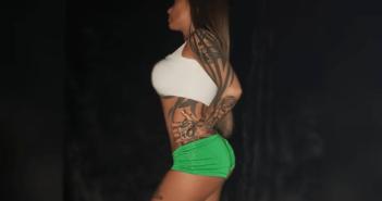 Schwesta Ewa mit grünen Shorts
