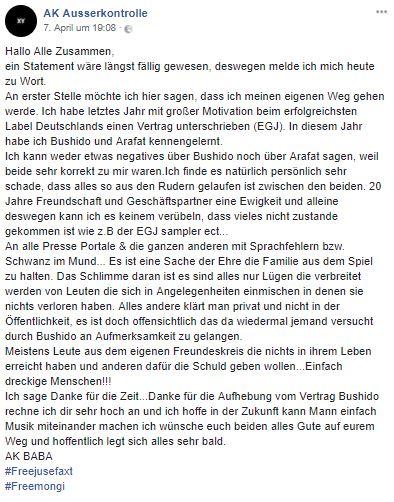 Letzte Worte von AK Ausserkontrolle nach Trennung von EGJ auf Facebook