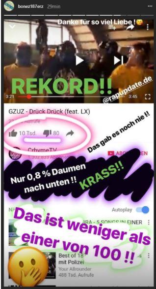 """Bonez MC zeigt den Screenshot von der YouTube Statistik von """"Drück Drück"""" von Gzuz und LX"""