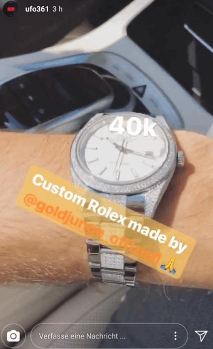 Ufo361 zeigt seine Custom Rolex für 40.000 Euro
