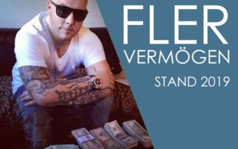 Rapper Fler zeigt einen Teil seines Vermögens auf dem Tisch - Stapel von Geldscheinen
