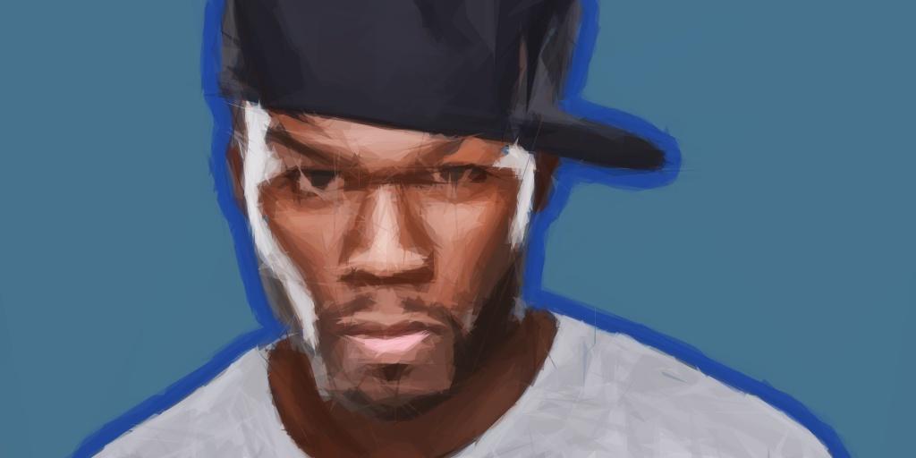 Frontale Aufnahme von 50 Cent als polygonale Zeichnung
