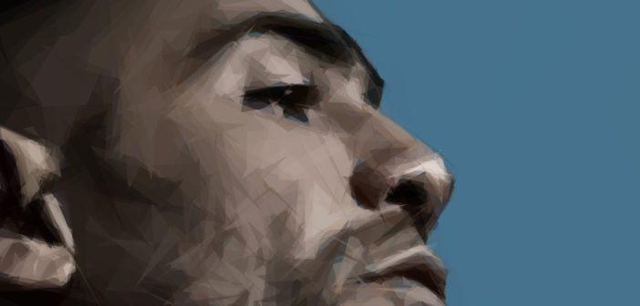 Bushidos Gesicht als einen der reichsten deutschen Rapper im Profil als polygonale Zeichnung
