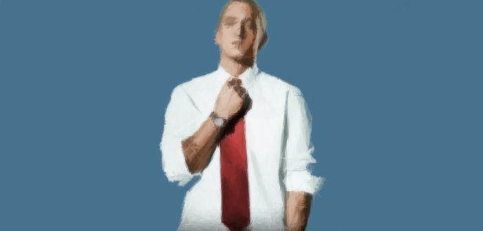 Frontale Aufnahme von Eminem mit Hemd und Krawatte als polygonale Zeichnung