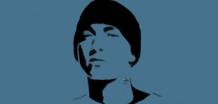 Frontales Bild von Eminem als polygonale Zeichnung